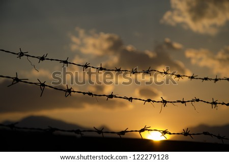 Barbed wire at sunset - stock photo