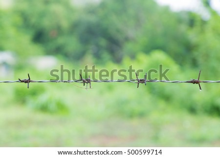 Barbed wire blocking the area. Protected areas are an intrusion into restricted areas.