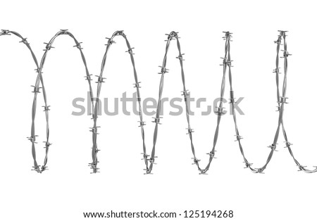 Barbed wire 3d illustration - stock photo
