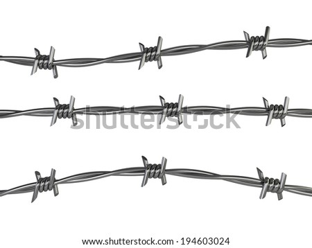 Barbed wire. 3d illustration isolated on white background