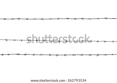 Barbed wire fence isolated on white background - stock photo
