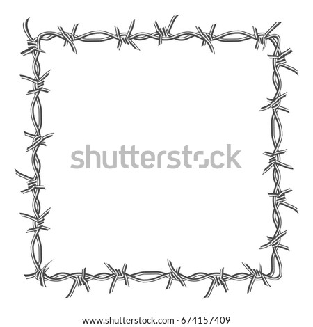 Barbed Wire Frame Isolated On White Stock Illustration 674157409 ...