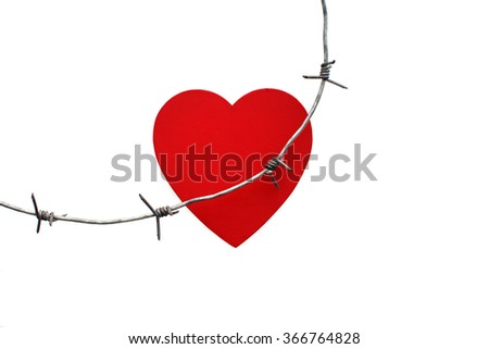 Barbed wire injures red heart. heart trapped in barbed wire, the concept of unrequited love, Stockholm Syndrome. Isolated on white background - stock photo