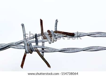 barbed wire isolated on white backgound