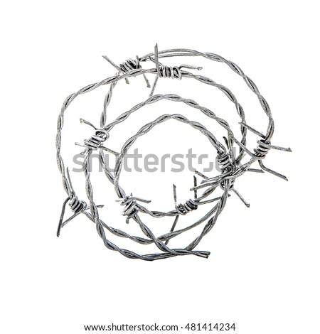 Barbed wire isolated on white background