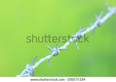 Barbed wire on green background
