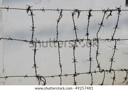 Barbed wire, Thailand. - stock photo