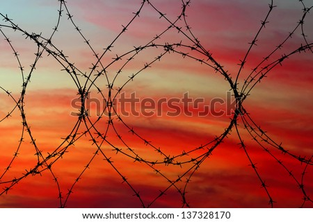 Barbed wire with red sunset in background - stock photo