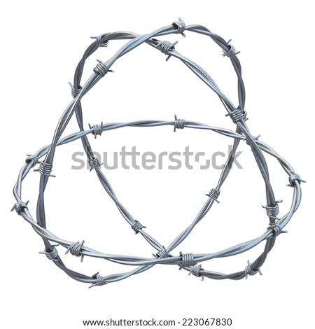 barbed wires  3d illustration  - stock photo