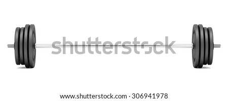 barbell isolated on white background - stock photo
