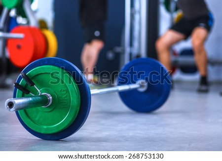 Barbell ready to workout in gym - stock photo