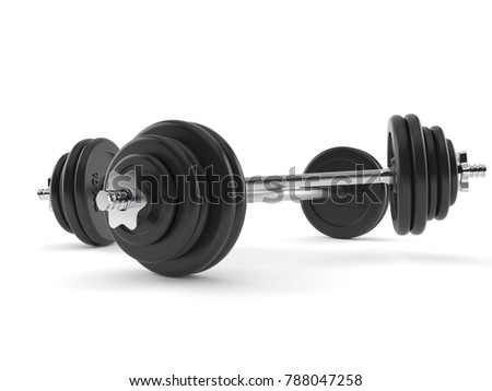 Barbells isolated on white background. 3d illustration