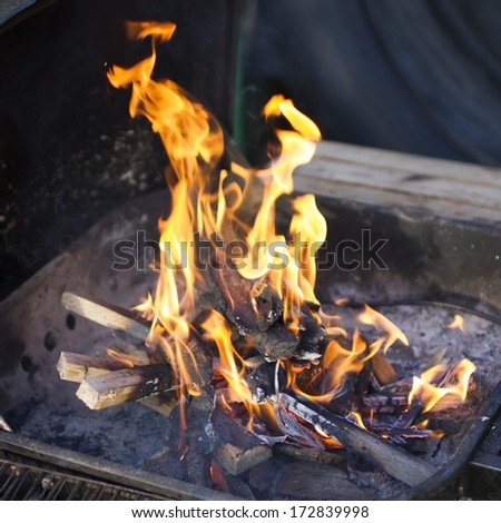 barbeque fire - stock photo