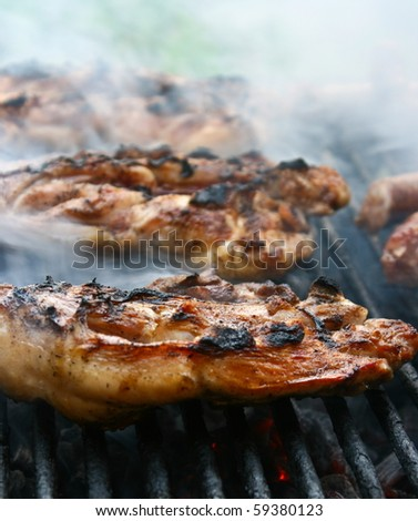 Barbeque in the garden in summer - stock photo