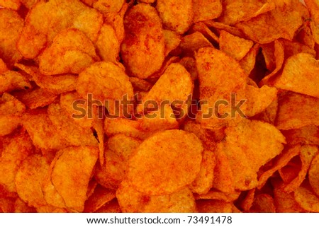 Barbeque Potato Chips - stock photo