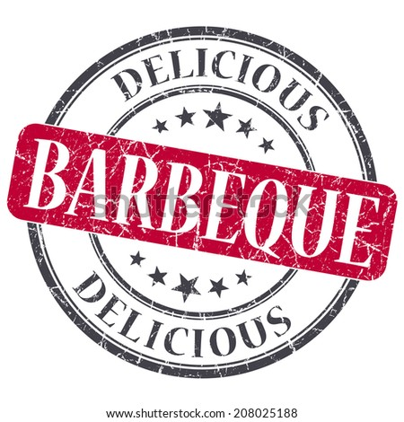 Barbeque red grunge textured vintage isolated stamp - stock photo