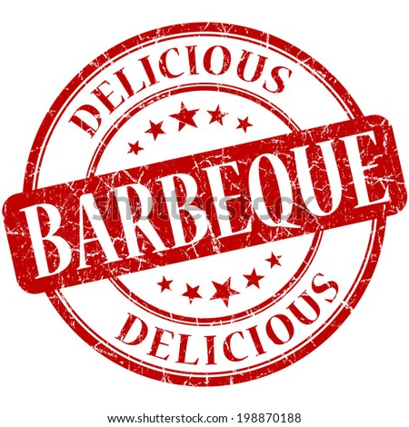 Barbeque red round grungy vintage rubber stamp - stock photo