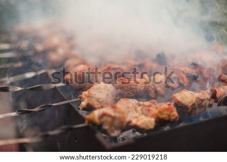 Barbeque sticks with meat, on the grill and heavy smoke above brazier. - stock photo