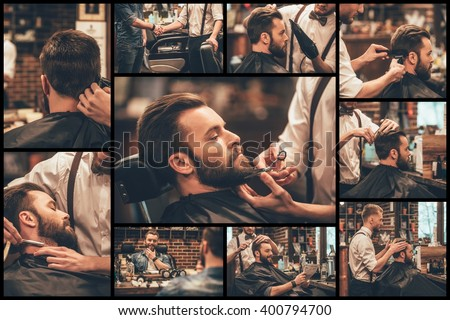 Barber at work. Collage of handsome bearded man getting haircut and beard grooming at barbershop - stock photo