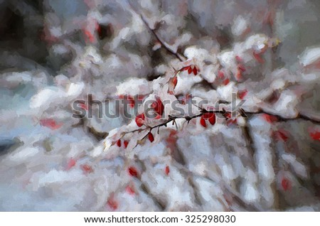 Barberry thorn bush with red berries covered in snow and ice in winter, transformed into a colorful painting - stock photo