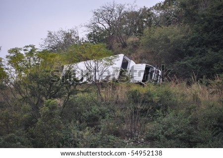 BARBERTON, SOUTH AFRICA - JUNE 10: Scene of bus crash where two British Tourists were killed and as many as 18  others were injured  June 10, 2010 just outside Barberton, South Africa.