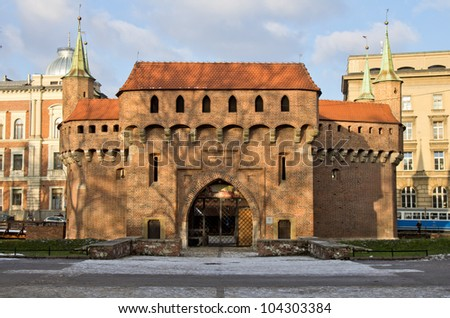 Barbican Defensive Bastion built in 1498 Old Town Krakow Poland - stock photo