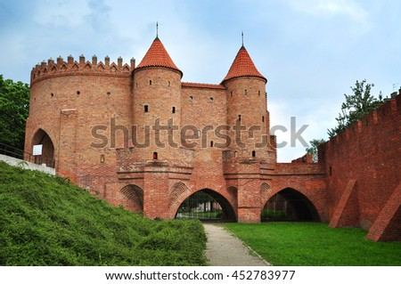 Barbican or Barbakan, historical fortification in Warsaw, Poland