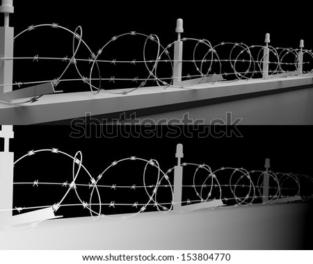 Barbwire wall background with clipping paths and depth map below - stock photo