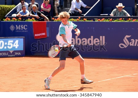 BARCELONA - APR 21: Andrey Rublev (tennis player from Russia) plays at the ATP Barcelona Open Banc Sabadell Conde de Godo tournament on April 21, 2015 in Barcelona, Spain.