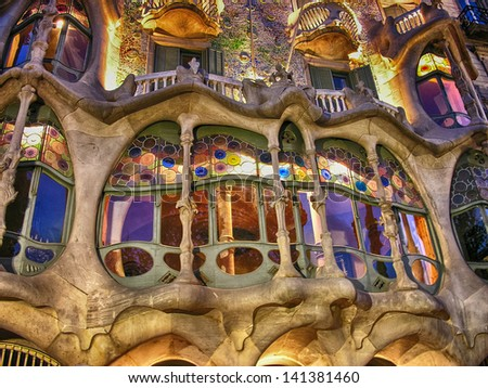 BARCELONA - APR 24: Casa Batllo on April 24, 2008 in Barcelona, Spain. This famous building was designed by Antoni Gaudi and is one of the most visited of the city - stock photo