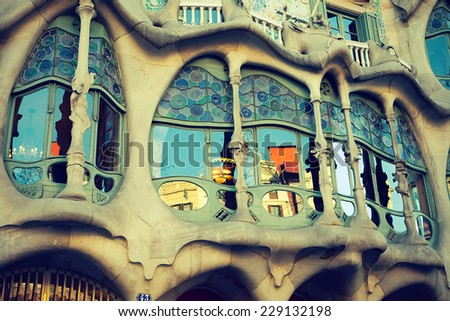 BARCELONA - APR 2: Casa Batllo on April 2, 2012 in Barcelona, Spain. This famous building was designed by Antoni Gaudi and is one of the most visited of the city - stock photo