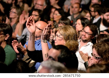BARCELONA - APR 16: Crowd in a concert at Luz de Gas club on April 16, 2015 in Barcelona, Spain.