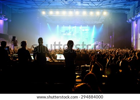 BARCELONA - APR 24: Crowd in a concert at Sant Jordi Club stage on April 24, 2015 in Barcelona, Spain. - stock photo