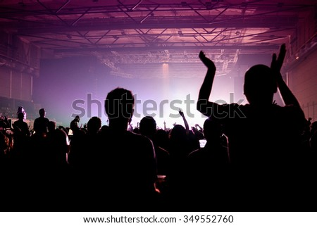 BARCELONA - APR 24: Crowd in a concert at Sant Jordi Club stage on April 24, 2015 in Barcelona, Spain.