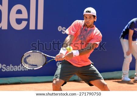 BARCELONA - APR 21: Fernando Verdasco (Spanish tennis player) plays at the ATP Barcelona Open Banc Sabadell Conde de Godo tournament on April 21, 2015 in Barcelona, Spain. - stock photo