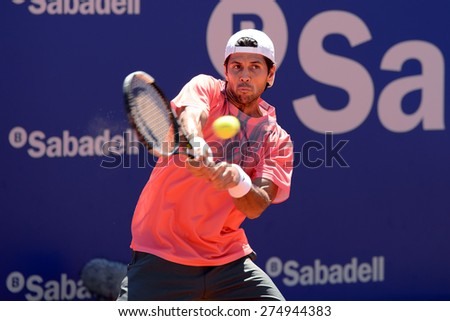 BARCELONA - APR 21: Fernando Verdasco (Spanish tennis player) plays at the ATP Barcelona Open Banc Sabadell Conde de Godo tournament on April 21, 2015 in Barcelona, Spain.