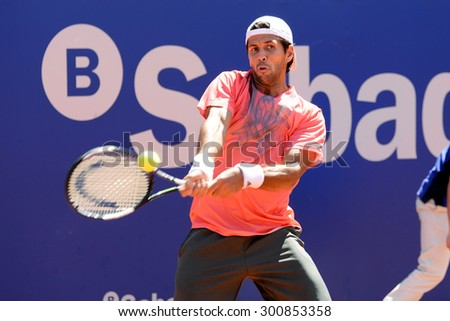 BARCELONA - APR 21: Fernando Verdasco (Spanish tennis player) plays at the ATP Barcelona Open Banc Sabadell Conde de Godo tournament on April 21, 2015 in Barcelona, Spain. - stock photo
