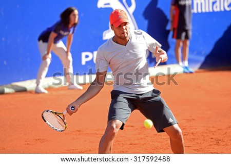 BARCELONA - APR 22: Jo Wilfried Tsonga (French tennis player) plays at the ATP Barcelona Open Banc Sabadell Conde de Godo tournament on April 22, 2015 in Barcelona, Spain. - stock photo