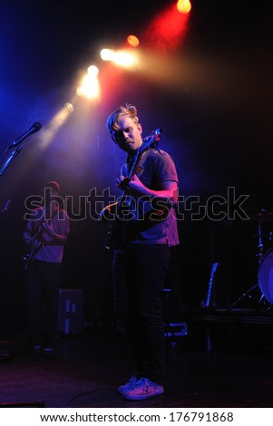BARCELONA - APR 15: Lower Dens (band from Baltimore) perfoms at Apolo stage on April 15, 2011 in Barcelona, Spain. - stock photo