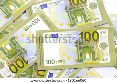 BARCELONA - APR 18: Many of one hundred euro banknotes on April 18, 2014 in Barcelona, Spain. - stock photo