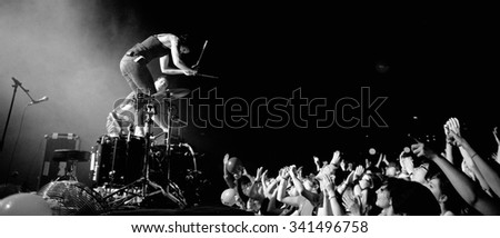 BARCELONA - APR 2: Matt and Kim (American indie rock duo from Brooklyn) in concert at Apolo on April 2, 2011 in Barcelona, Spain. - stock photo
