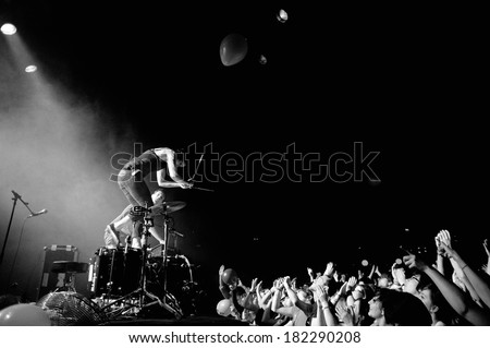 BARCELONA - APR 2: Matt and Kim (American indie rock duo from Brooklyn) performs at Apolo on April 2, 2011 in Barcelona, Spain. They are known for their DIY attitude toward music. - stock photo