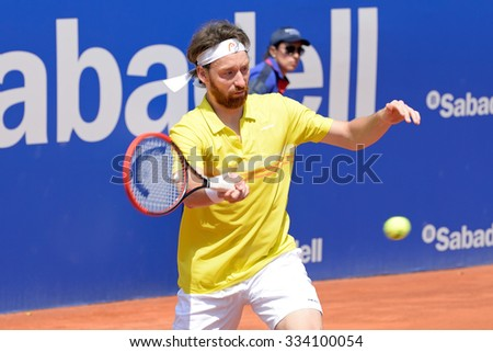BARCELONA - APR 18: Miroslav Mecir (tennis player from Slovakia) plays at the ATP Barcelona Open Banc Sabadell Conde de Godo tournament on April 18, 2015 in Barcelona, Spain. - stock photo