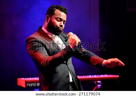 BARCELONA - APR 16: Myles Sanko (soul band) performs at Luz de Gas club on April 16, 2015 in Barcelona, Spain.