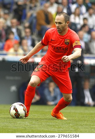 BARCELONA - APRIL, 25: Andres Iniesta of FC Barcelona during a Spanish League match against RCD Espanyol at the Power8 stadium on April 25, 2015 in Barcelona, Spain - stock photo