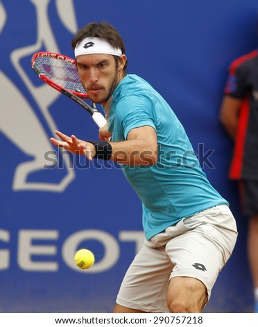 BARCELONA - APRIL, 22: Argentinian tennis player Leonardo Mayer in action during a match of Barcelona tennis tournament Conde de Godo on April 22 2015 in Barcelona - stock photo