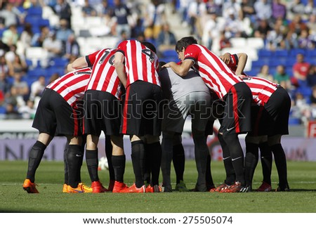 BARCELONA - APRIL, 12: Athletic Club Bilbao players before a Spanish League match against RCD Espanyol at the Power8 Stadium on April 12 2015 in Barcelona Spain - stock photo