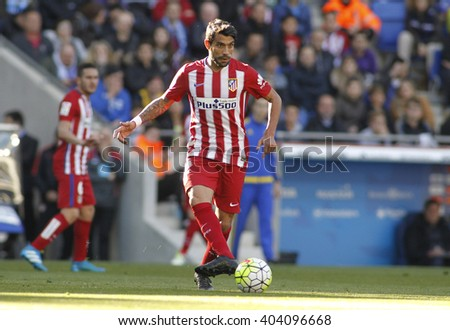 BARCELONA - APRIL, 9: Augusto Fernandez of Atletico Madrid during a Spanish League match against RCD Espanyol at the Power8 stadium on April 9, 2016 in Barcelona, Spain - stock photo