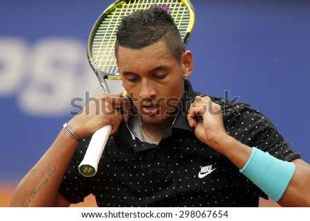 BARCELONA - APRIL, 22: Australian tennis player Nick Kirgios in action during a match of Barcelona tennis tournament Conde de Godo on April 22 2015 in Barcelona - stock photo