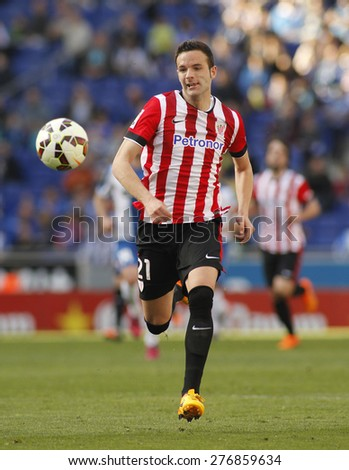 BARCELONA - APRIL, 12: Borja Viguera of Athletic Club Bilbao during a Spanish League match against RCD Espanyol at the Power8 Stadium on April 12 2015 in Barcelona Spain - stock photo